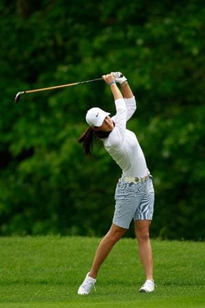 GLADSTONE, NJ - MAY 19:  Michelle Wie hits her second shot on the second hole during round one of the Sybase Match Play Championship at Hamilton Farm Golf Club on May 19, 2011 in Gladstone, New Jersey.  (Photo by Chris Trotman/Getty Images)
