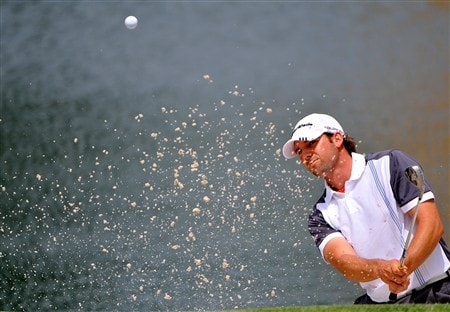 MEMPHIS, TN - JUNE 05:  Sergio Garcia blasts out of the greenside bunker on the 4th hole  hole during the first round of the Standford St. Jude Championship on June 5, 2008 at the TPC Southwind in Memphis, Tennessee.  (Photo by Marc Feldman/Getty Images)