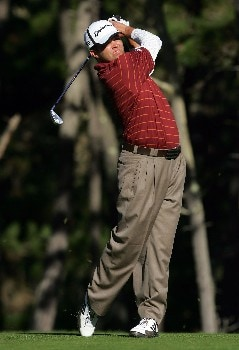 PEBBLE BEACH, CA - FEBRUARY 9:  Robert Damron hits a tee shot on the 11th hole during the third round of the AT&T Pebble Beach National Pro-Am at the Poppy Hills Golf Course February 9, 2008 in Pebble Beach, California.  (Photo by Jeff Gross/Getty Images)