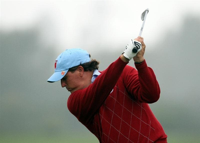 NEWPORT, WALES - SEPTEMBER 28:  Phil Mickelson of the USA tees off during a practice round prior to the 2010 Ryder Cup at the Celtic Manor Resort on September 28, 2010 in Newport, Wales.  (Photo by Andy Lyons/Getty Images)