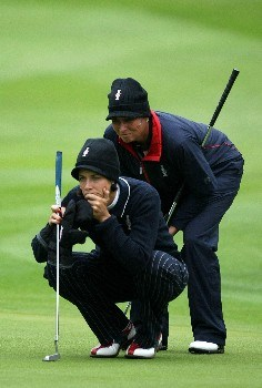 HALMSTAD, SWEDEN - SEPTEMBER 14:  Laura Diaz is and Sherri Steinhauer line up a putt on the 8th hole during the morning foursomes at the Solheim Cup at Halmstad Golf Club on September 14, 2007 in Halmstad, Sweden.  (Photo by Jonathan Ferrey/Getty Images)