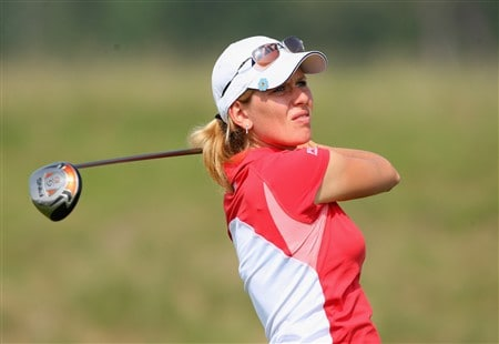 MUNICH, GERMANY - MAY 30:  Veronica Zorzi of Italy plays her tee shot on the 13th hole during the second round of the Hypo Vereinsbank Ladies German Open Golf at Golfpark Gut Hausern on May 30, 2008 near Munich, Germany.  (Photo by Stuart Franklin/Bongarts/Getty Images)