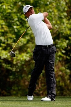 AVONDALE, LA - MARCH 30:  Nicholas Thompson tees off on the second hole during the final round of the Zurich Classic of New Orleans on March 30, 2008  at TPC Louisiana in Avondale, Louisiana.  (Photo by Chris Graythen/Getty Images)