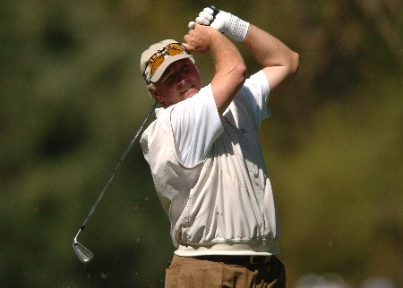 Tom Jenkins tees off on the 7th hole during the first round of the Champions' Tour 2005 SBC Classic at the Valencia Country Club in Valencia, California March 11, 2005.