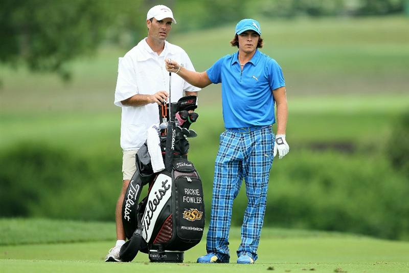 DUBLIN, OH - JUNE 05:  Rickie Fowler and his caddie Donnie Darr are pictured on the 10th hole during the third round of The Memorial Tournament presented by Morgan Stanley at Muirfield Village Golf Club on June 5, 2010 in Dublin, Ohio.  (Photo by Andy Lyons/Getty Images)