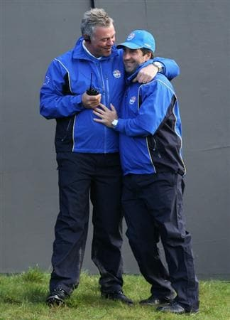 NEWPORT, WALES - OCTOBER 04:  European Team vice-captains (L-), Darren Clarke and Jose Maria Olazabal wait on the first tee in the singles matches during the 2010 Ryder Cup at the Celtic Manor Resort on October 4, 2010 in Newport, Wales.  (Photo by David Cannon/Getty Images)