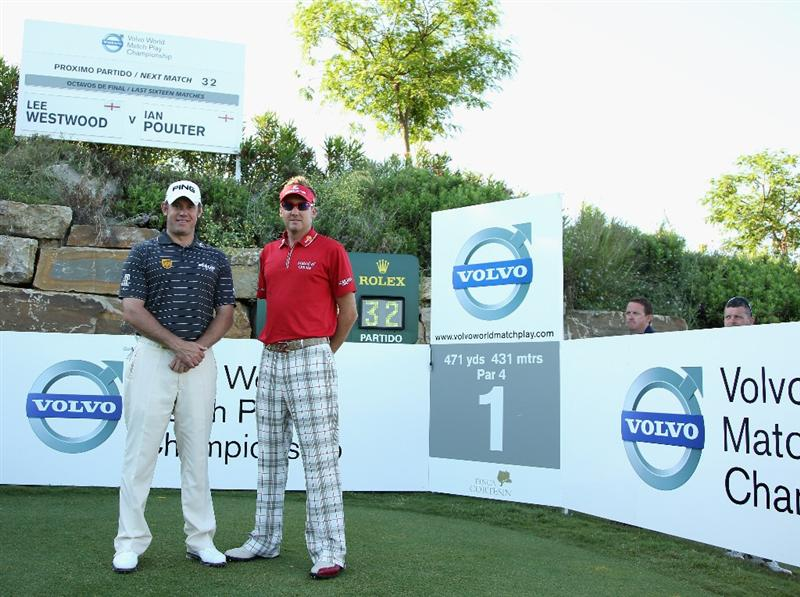 CASARES, SPAIN - MAY 21:  Lee Westwood of England (left) and Ian Poulter of England pose for a photograph before their last 16 match at the Volvo World Match Play Championship at Finca Cortesin on May 21, 2011 in Casares, Spain.  (Photo by Andrew Redington/Getty Images)