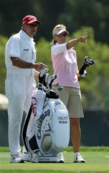 RANCHO MIRAGE, CA - APRIL 5:  Liselotte Neumann (R) of Sweden prepares to hit her tee shot at the sixth hole during the third round of the Kraft Nabisco Championship at the Mission Hills Country Club April 5, 2008 in Rancho Mirage, California.  (Photo by David Cannon/Getty Images)
