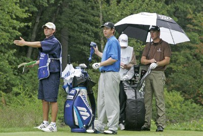 J.J. Henry (L) and Robert Karlsson, both Ryder Cup players are paired during the third round of the 2006 Deutsche Bank Championship held at TPC Boston in Norton, Massachusetts on September 3, 2006.Photo by Michael Cohen/WireImage.com