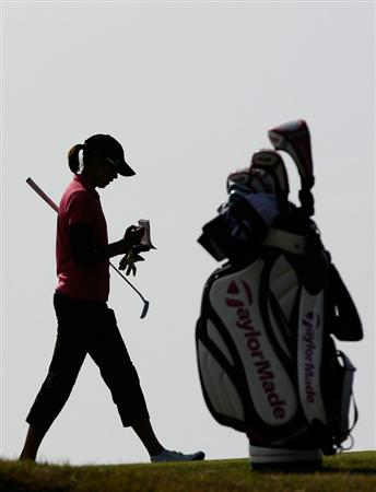 SHIMA, JAPAN - NOVEMBER 06:  Stacy Prammanasudh of United States on the 11th hole during round two of the Mizuno Classic at Kintetsu Kashikojima Country Club on November 6, 2010 in Shima, Japan.  (Photo by Chung Sung-Jun/Getty Images)