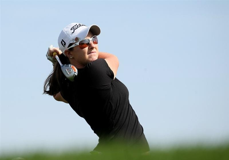 PHOENIX, AZ - MARCH 19:  Amelia Lewis hits her tee shot on the sixth hole during the second round of the RR Donnelley LPGA Founders Cup at Wildfire Golf Club on March 19, 2011 in Phoenix, Arizona.  (Photo by Stephen Dunn/Getty Images)