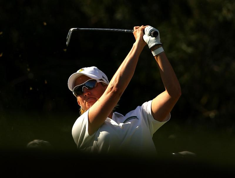 MELBOURNE, AUSTRALIA - MARCH 12:  Karrie Webb of Australia plays her tee shot on the 15th hole during round two of the 2010 Women's Australian Open at The Commonwealth Golf Club on March 12, 2010 in Melbourne, Australia.  (Photo by Mark Dadswell/Getty Images)