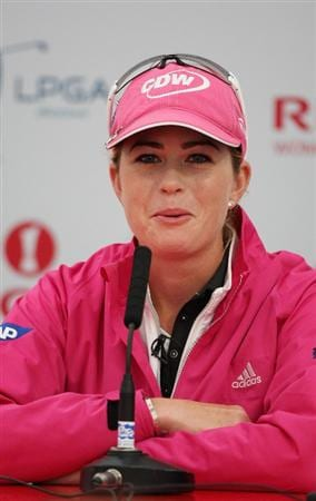 LYTHAM ST ANNES, ENGLAND - JULY 29:  Paula Creamer of the USA addresses a press conference during practice prior to the 2009 Ricoh Women's British Open Championship held at Royal Lytham St Annes Golf Club, on July 29, 2009 in Lytham St Annes, England.  (Photo by Warren Little/Getty Images)