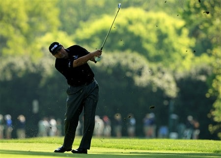 CHARLOTTE, NC - MAY 01:  Angel Cabrera of Argentina plays into the 11th green during the first round of the Wachovia Championship at Quail Hollow Country Club on May 1, 2008 Charlotte, North Carolina.  (Photo by Richard Heathcote/Getty Images)