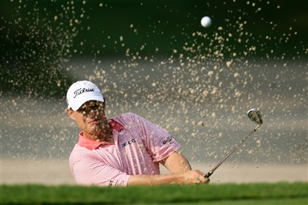PONTE VEDRA BEACH, FL - MAY 09:  Johnson Wagner hits a bunker shot on the 10th hole during the second round of THE PLAYERS Championship on THE PLAYERS Stadium Course at TPC Sawgrass on May 9, 2008 in Ponte Vedra Beach, Florida.  (Photo by Andy Lyons/Getty Images)