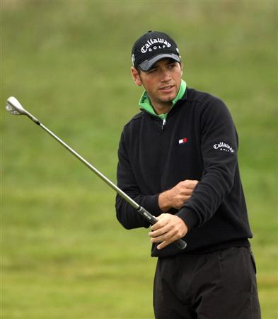 BALTRAY, IRELAND - MAY 14:  Nick Dougherty of England prepares to play his approach shot on the ninth hole during the first round of The 3 Irish Open at County Louth Golf Club on May 14, 2009 in Baltray, Ireland.  (Photo by Andrew Redington/Getty Images)