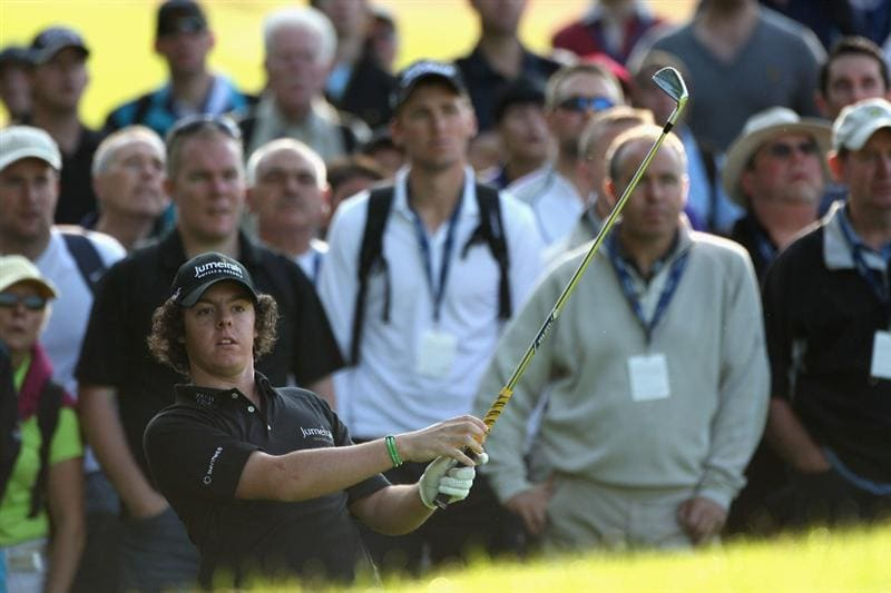 LUSS, SCOTLAND - JULY 09:  Rory McIlroy of Northern Ireland hits an approach shot on the 13th hole during the First Round of The Barclays Scottish Open at Loch Lomond Golf Club on July 09, 2009 in Luss, Scotland.  (Photo by Warren Little/Getty Images)