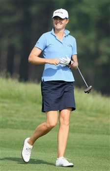 MUNICH, GERMANY - MAY 30:  Anja Monke of Germany looks happy during the second round of the Hypo Vereinsbank Ladies German Open Golf at Golfpark Gut Hausern on May 30, 2008 near Munich, Germany.  (Photo by Stuart Franklin/Bongarts/Getty Images)
