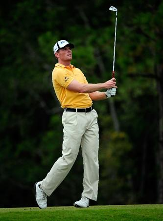 PALM COAST, FL - OCTOBER 31:  James Driscoll watches his shot on the 12th hole during the second round of the Ginn sur Mer Classic at the Conservatory Golf Club on October 31, 2008 in Palm Coast, Florida.  (Photo by Sam Greenwood/Getty Images)