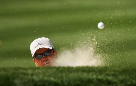ORLANDO, FL - MARCH 25:  Mark McNulty of Ireland and the Lake Nona team plays out a greenside bunker on the fifth hole during the second day of the Tavistock Cup at Isleworth Golf and Country Club on March 25, 2008 in Orlando, Florida.  (Photo by Warren Little/Getty Images)
