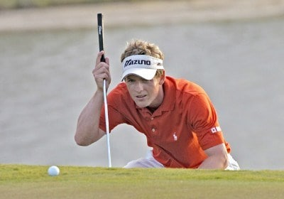 Luke Donald lines up a putt on the 17th green during the final round of The Honda Classic held on the Sunshine Course at Country Club at Mirasol in Palm Beach Gardens, Florida, on March 12, 2006.Photo by Al Messerschmidt/WireImage.com