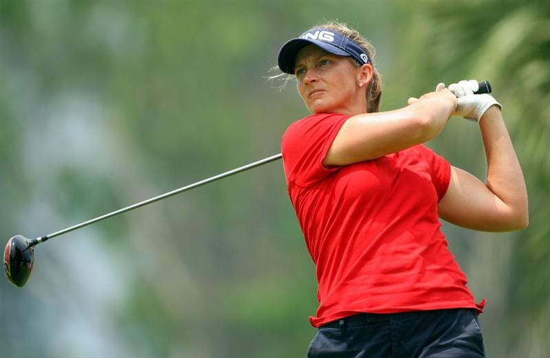 SINGAPORE - MARCH 07:  Angela Stanford of the USA tees off on the 18th hole during the third round of the HSBC Women's Champions at Tanah Merah Country Club on March 7, 2009 in Singapore.  (Photo by Andrew Redington/Getty Images)