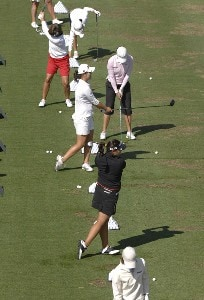 LPGA golfers warm up on the driving range  before  the third round of the 2007 Safeway International at Superstition Mountain Golf and Country Club March 24, 2007. LPGA - 2007 Safeway International Presented by Coca-Cola - Third RoundPhoto by Al Messerschmidt/WireImage.com