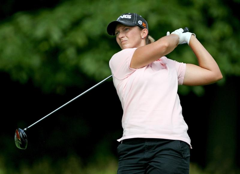 HAVRE DE GRACE, MD - JUNE 12:  Angela Stanford hits her tee shot on the 4th hole during the second round of the McDonald's LPGA Championship at Bulle Rock Golf Course on June 12, 2009 in Havre de Grace, Maryland.  (Photo by Andy Lyons/Getty Images)