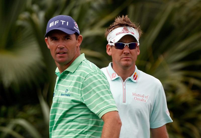DORAL, FL - MARCH 11:  Padraig Harrington of Ireland (L) and Ian Poulter of England watch a shot on the eighth tee during the first round of the 2010 WGC-CA Championship at the TPC Blue Monster at Doral on March 11, 2010 in Doral, Florida.  (Photo by Scott Halleran/Getty Images)