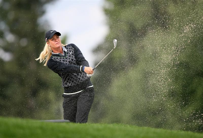 CALGARY, AB - SEPTEMBER 06:  Suzann Pettersen of Norway hits her second shot on the fifth hole during the final round of the Canadian Women's Open at Priddis Greens Golf & Country Club on September 6, 2009 in Calgary, Alberta, Canada. (Photo by Hunter Martin/Getty Images)