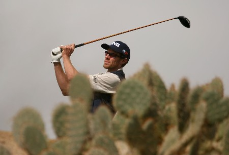 MARANA, AZ - FEBRUARY 20:  Nick O'Hern of Australia hits his tee shot on the 14th hole during the first round matches of the WGC-Accenture Match Play Championship at The Gallery at Dove Mountain on February 20, 2008 in Marana, Arizona.  (Photo by Scott Halleran/Getty Images)