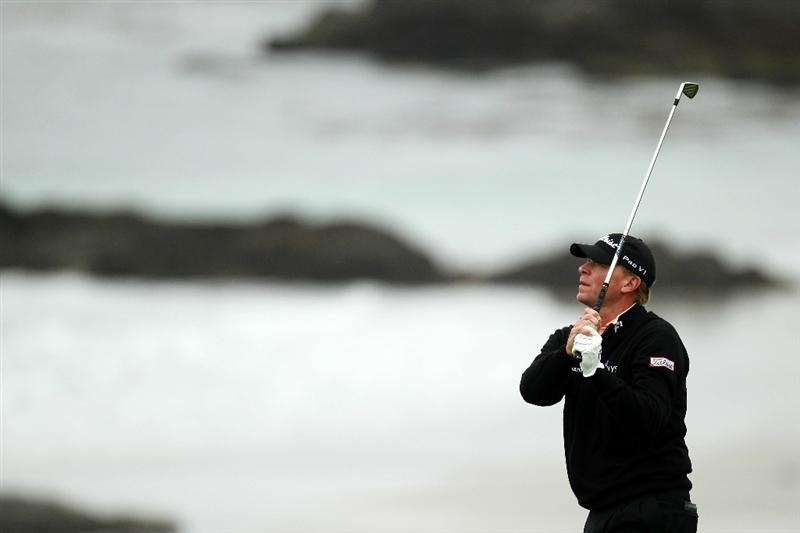 PEBBLE BEACH, CA - JUNE 18:  Steve Stricker watches a shot on the tenth hole during the second round of the 110th U.S. Open at Pebble Beach Golf Links on June 18, 2010 in Pebble Beach, California.  (Photo by Ross Kinnaird/Getty Images)