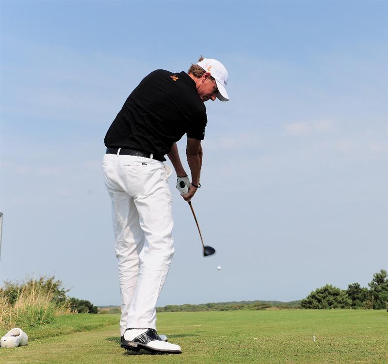 ZANDVOORT, NETHERLANDS - AUGUST 20:  Maarten Lafeber of The Netherlands plays his tee shot on the 12th hole during the first round of The KLM Open at Kennemer Golf & Country Club on August 20, 2009 in Zandvoort, Netherlands.  (Photo by Stuart Franklin/Getty Images)