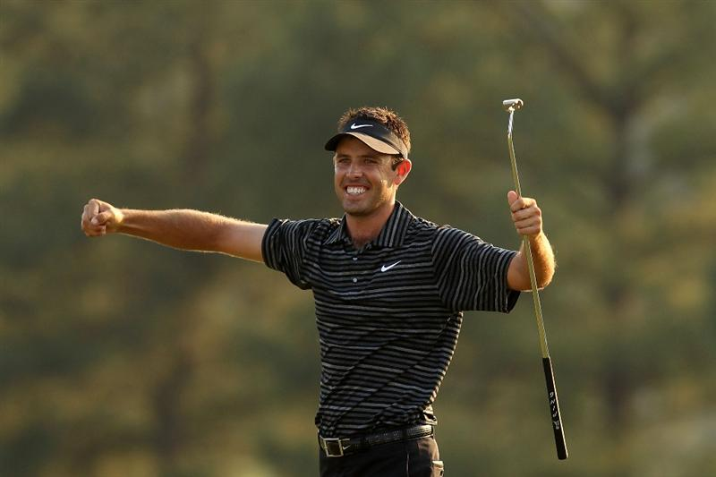 AUGUSTA, GA - APRIL 10:  Charl Schwartzel of South Africa celebrates his two-stroke victory on the 18th green during the final round of the 2011 Masters Tournament at Augusta National Golf Club on April 10, 2011 in Augusta, Georgia.  (Photo by Andrew Redington/Getty Images)