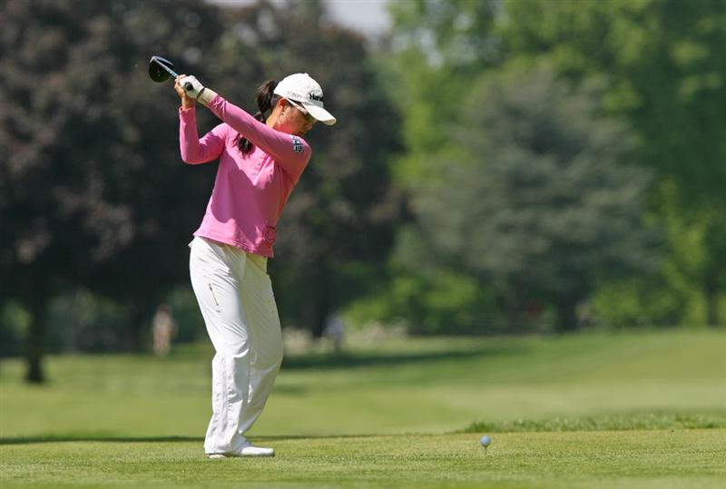 CLIFTON, NJ - MAY 15 : Hee Young Park of South Korea hits her tee shot on the 7th hole during the second round of the Sybase Classic presented by ShopRite at Upper Montclair Country Club on May 15, 2009 in Clifton, New Jersey. (Photo by Hunter Martin/Getty Images)