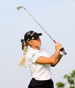 SINGAPORE - FEBRUARY 27:  Natalie Gulbis of USA tees off on the 11th hole during the Pro-Am prior to the start of the HSBC Women's Champions at Tanah Merah Country Club on February 27, 2008 in Singapore.  (Photo by Andrew Redington/Getty Images)