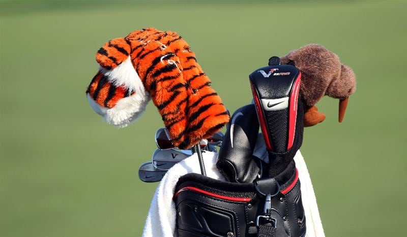 ORLANDO, FL - MARCH 25:  The golf bag of Tiger Woods during the second round of the Bay Hill Invitational presented by MasterCard at the Bay Hill Club and Lodge on March 25, 2011 in Orlando, Florida.  (Photo by Sam Greenwood/Getty Images)