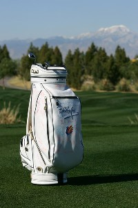 One of  Bob Hope's golf bags autographed by a few PGA players is seen on the third hole fairway after The World Golf Hall of Fame announced the 'Bob Hope: Shanks for the Memory' exhibit during a press conference during the Bob Hope Chrysler Classic on January 15, 2008 at the Classic Club in Palm Desert, California. World Golf Hall of Fame Announcement - January 15, 2008Photo by Robert Laberge/WireImage.com