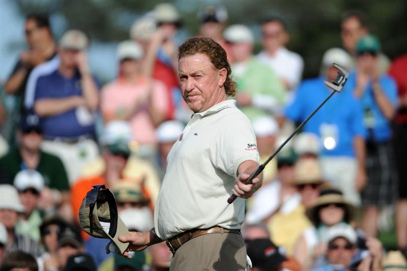 AUGUSTA, GA - APRIL 07:  Miguel Angel Jimenez of Spain reacts as he finishes 1-under par on the 18th hole during the first round of the 2011 Masters Tournament at Augusta National Golf Club on April 7, 2011 in Augusta, Georgia.  (Photo by Harry How/Getty Images)