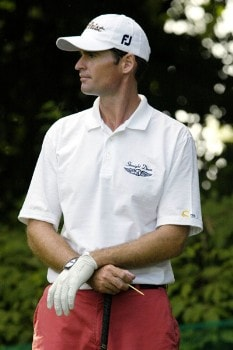 Roger Tambellini waits his turn to tee off on the 14th hole during the first round of the Nationwide Tour Xerox Classic in Rochester, N.Y., Thursday, Aug. 18, 2005.Photo by Kevin Rivoli/WireImage.com