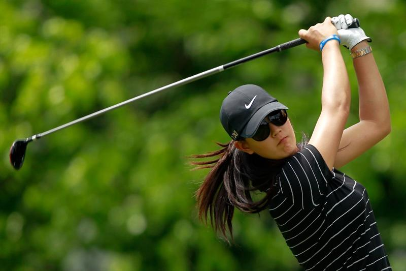 GLADSTONE, NJ - MAY 21: Michelle Wie hits her tee shot on the tenth hole in round three of the Sybase Match Play Championship at Hamilton Farm Golf Club on May 20, 2011 in Gladstone, New Jersey.  (Photo by Chris Trotman/Getty Images)
