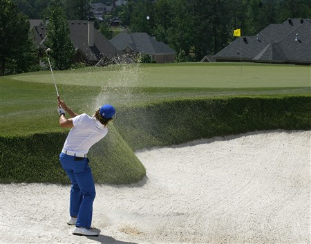 DULUTH, GA - MAY 17:  Camilo Villegas of Colombia hits from the sand on the 14th hole during the third round of the AT&T Classic at TPC Sugarloaf May 17, 2008 in Duluth, Georgia.  (Photo by Matt Sullivan/Getty Images)