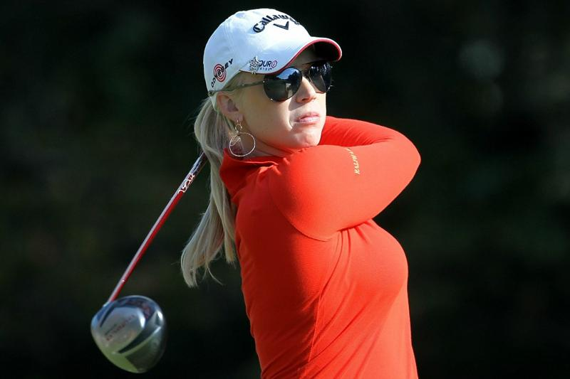 SHIMA, JAPAN - NOVEMBER 06:  Morgan Pressel of the United States plays a tee shot on the 9th hole during round two of the Mizuno Classic at Kintetsu Kashikojima Country Club on November 6, 2010 in Shima, Mie, Japan.  (Photo by Kiyoshi Ota/Getty Images)