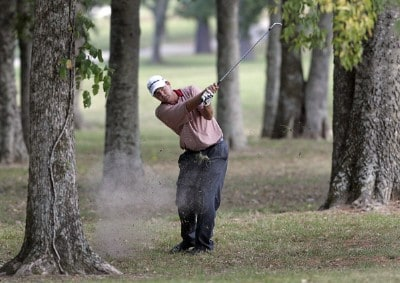 Dicky Pride hits out of trouble on the 13th hole during the third round of the Southern Farm Bureau Classic at Annandale Golf Club in Madison, Mississippi, on September 30, 2006. Photo by Hunter Martin/WireImage.com