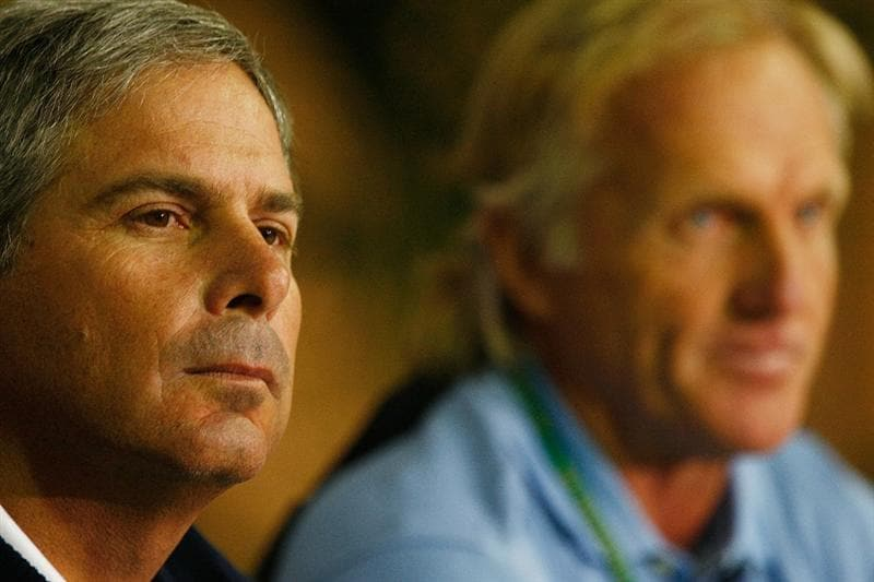 SAN FRANCISCO - OCTOBER 06:  US Team captain Fred Couples, (L) and International Team captain Greg Norman speak with the media during a practice round prior to the start of The Presidents Cup at Harding Park Golf Course on October 6, 2009 in San Francisco, California.  (Photo by Scott Halleran/Getty Images)