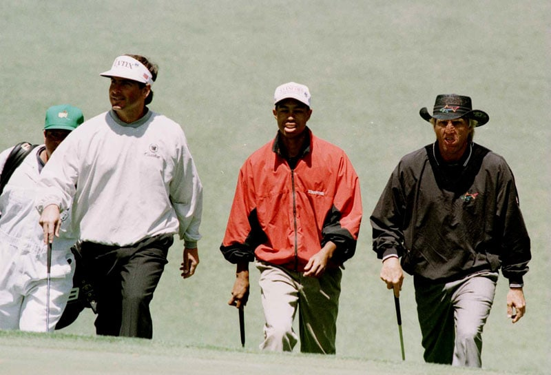 Fred Couples, Tiger Woods and Greg Norman