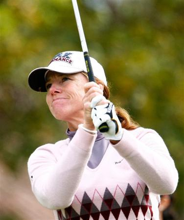 RICHMOND, TX - NOVEMBER 20:  Helen Alfredsson watches her tee shot on the first hole during the second round of the LPGA Tour Championship presented by Rolex at the Houstonian Golf and Country Club on November 20, 2009 in Richmond, Texas.  (Photo by Scott Halleran/Getty Images)