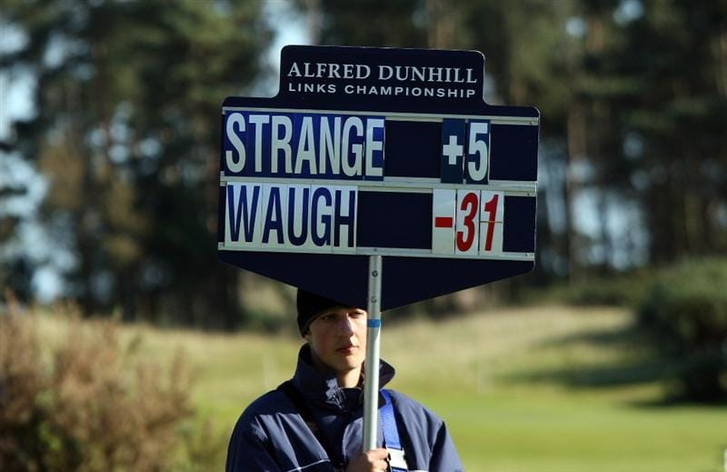 CARNOUSTIE, SCOTLAND - OCTOBER 04:  Steve Waugh of Australia outshines his playing partner professional Scott Strange of Australia as the roving scoreboard shows at the 9th hole during the third round of the Alfred Dunhill Links Championship at Carnoustie, on October 4, 2009 in Carnoustie, Scotland. The third round was postponed on saturday due to gale force winds.  (Photo by David Cannon/Getty Images)
