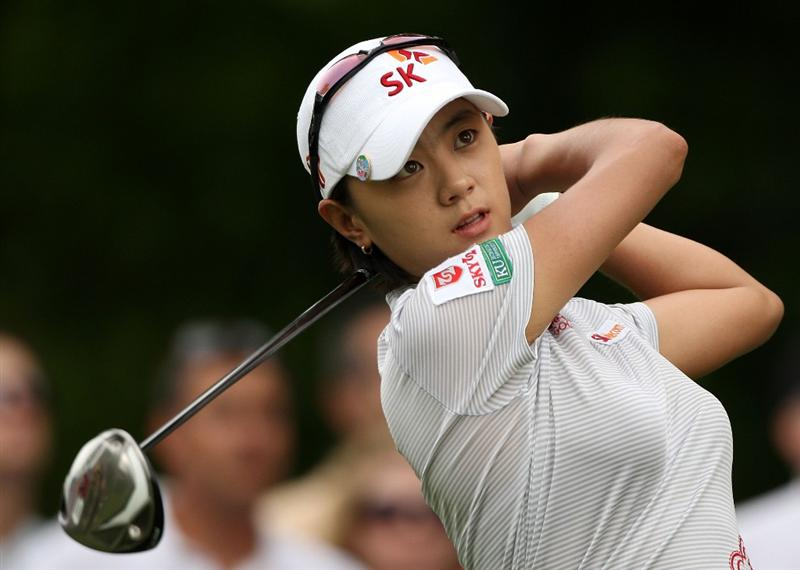 BETHLEHEM, PA - JULY 11:  Na Yeon Choi of South Korea watches her tee shot during the third round of the 2009 U.S. Women's Open at Saucon Valley Country Club on July 11, 2009 in Bethlehem, Pennsylvania.  (Photo by Streeter Lecka/Getty Images)