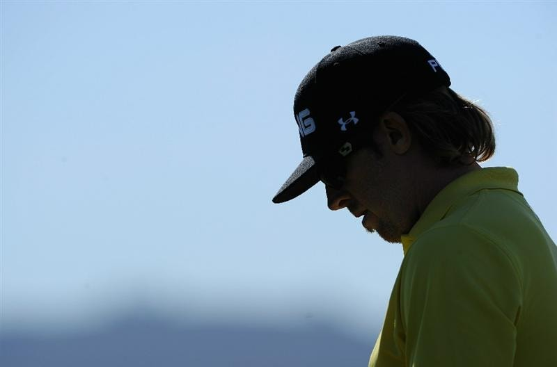PEBBLE BEACH, CA - FEBRUARY 13:  Hunter Mahan ponders during the final round of the AT&T Pebble Beach National Pro-Am at Pebble Beach Golf Links on February 13, 2011  in Pebble Beach, California.  (Photo by Stuart Franklin/Getty Images)